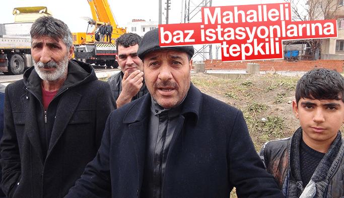Akpınar Mahallesi baz istasyonlarına tepkili