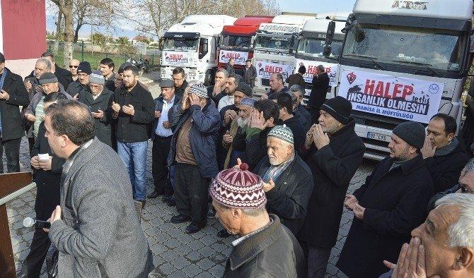Halep için yardım TIR'ları yola çıktı