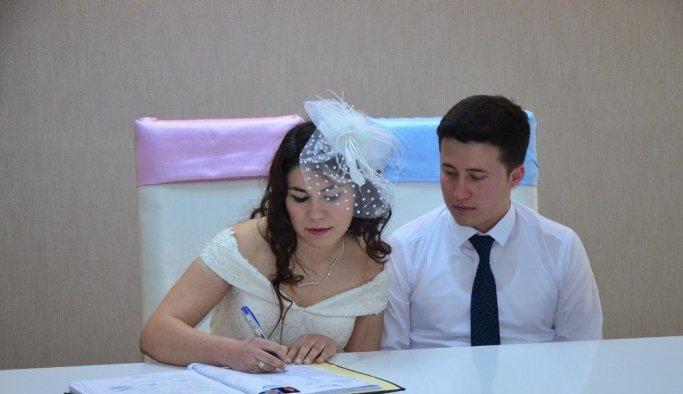 Belediye Nikah Salonu'nda çifte mutluluk