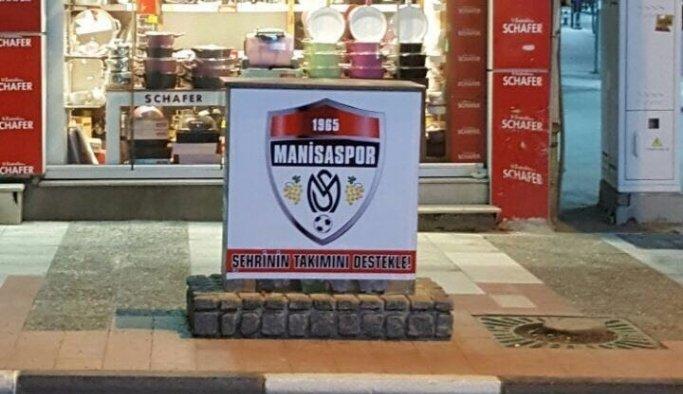 Elektrik trafolarına Manisaspor amblemi