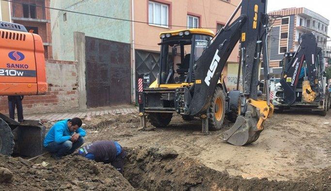 Turgutlu'da doğalgaz borusu patladı