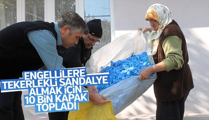 Engelliler için 10 bin mavi kapak topladı