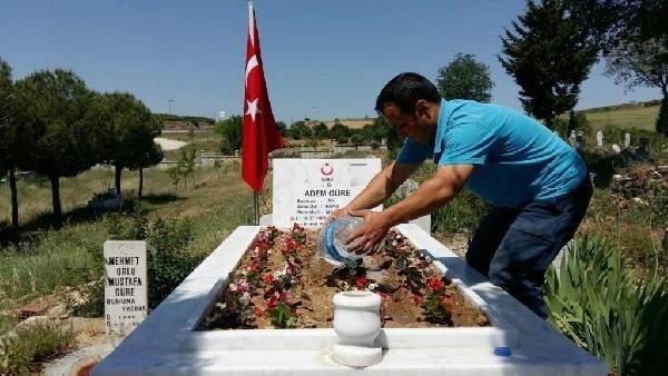 Kula'daki şehit mezarlarında bakım çalışması