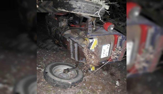 Manisa'da devrilen traktörün sürücüsü yaşamını yitirdi