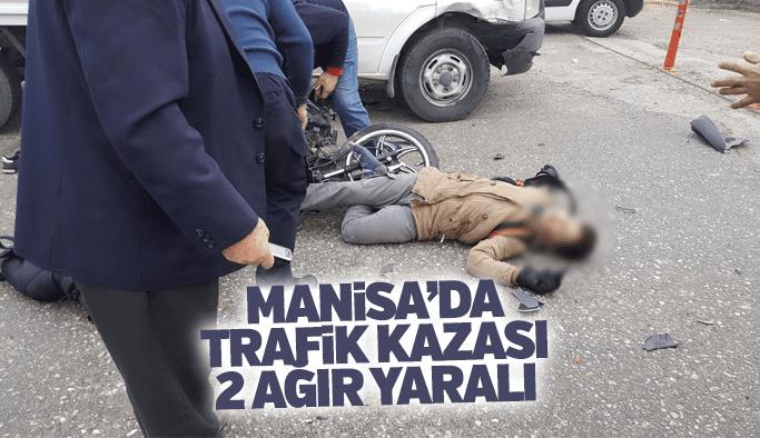 Manisa'da trafik kazası 2 ağır yaralı