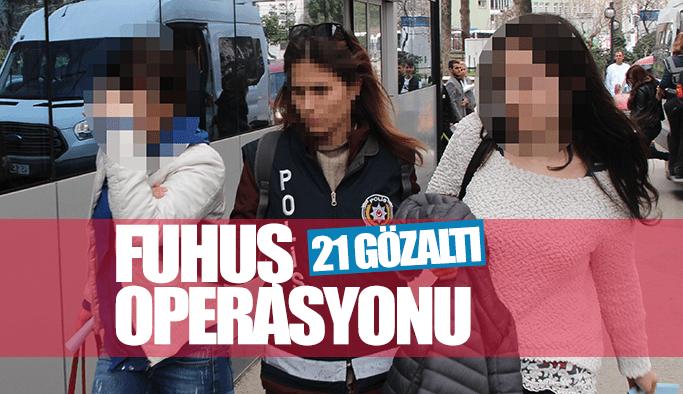 Manisa polisinden fuhuş operasyonu: 21 gözaltı