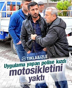 POLİSE KIZDI MOTOSİKLETİNİ YAKTI