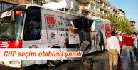 Salihli'de CHP'nin seçim otobüsünde yangın çıktı