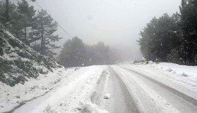 Yoğun kar yağışında 16 kişi yayladan inemedi